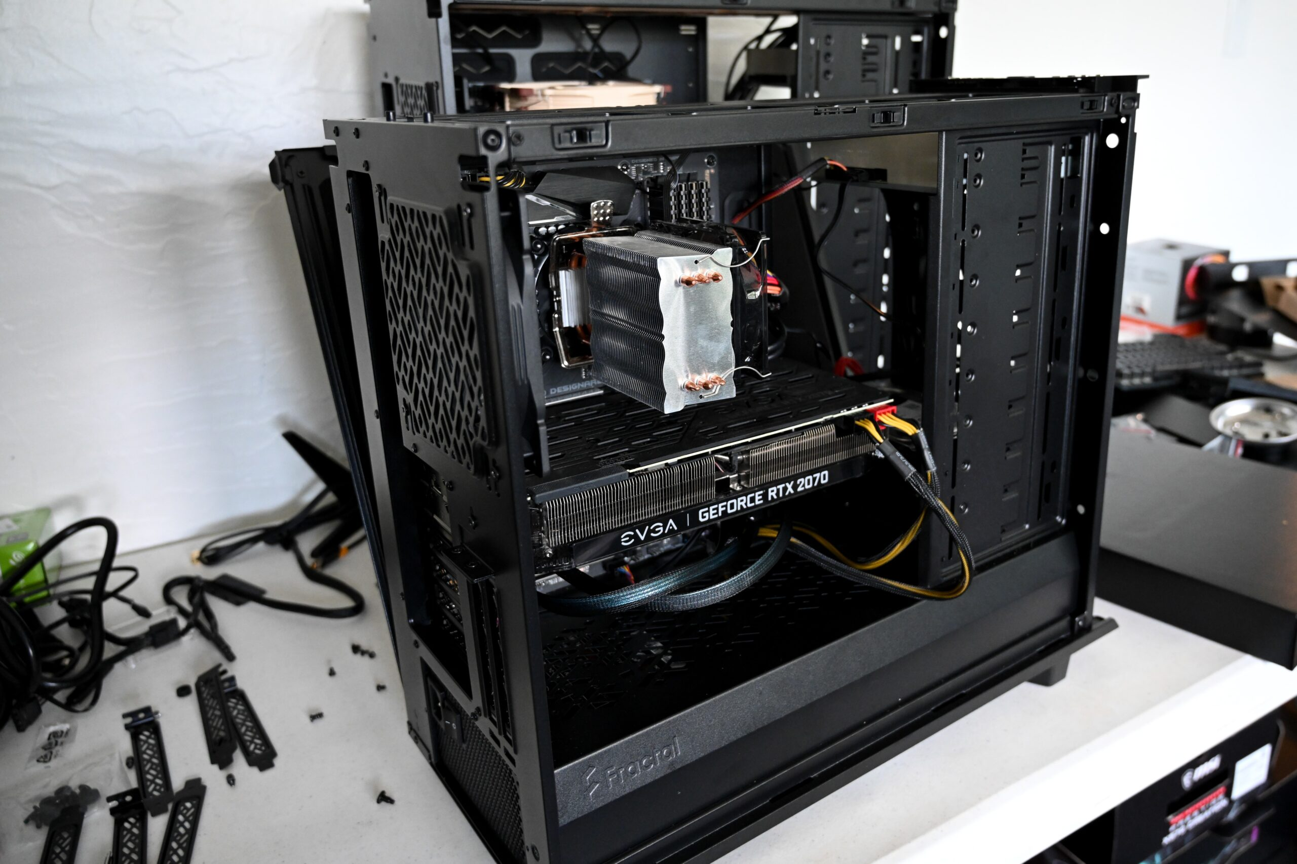 Computer with parts showing